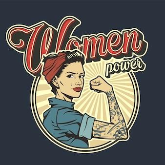 Insignia de poder de mujer colorida vintage vector gratuito