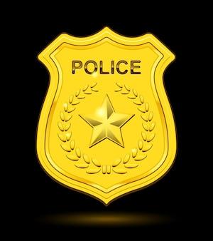 Insignia de policía de oro aislada