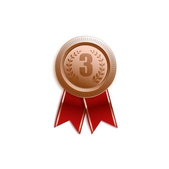 Insignia de premio para el tercer lugar con cinta roja, símbolo de pin de medalla aislado en diseño 3d realista, signo de trofeo de victoria para el número 3