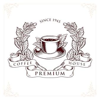 Insignia premium de café de logotipo