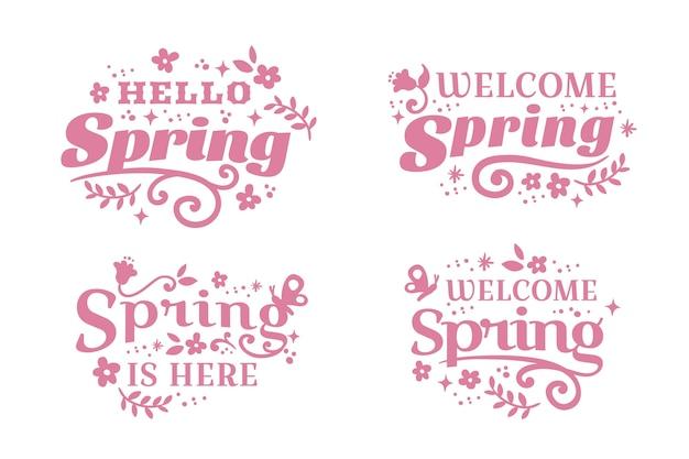 Insignia de primavera de diseño plano letras rosadas