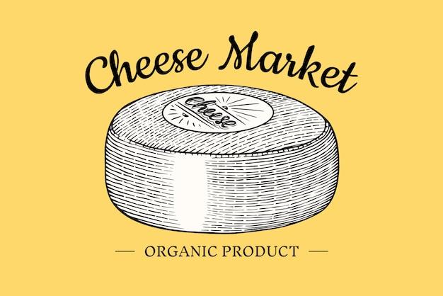 Insignia de queso. logotipo vintage para mercado o tienda de abarrotes. leche ecológica fresca.
