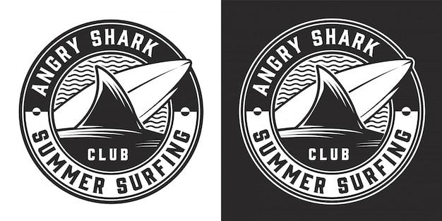 Insignia redonda monocromática del club de surf vintage