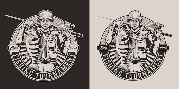 Insignia redonda vintage del torneo de pesca con pescador con perca capturada y caña de pescar