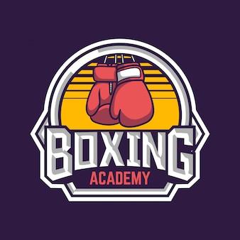 Insignia retro de la academia de boxeo con ilustración de boxeador