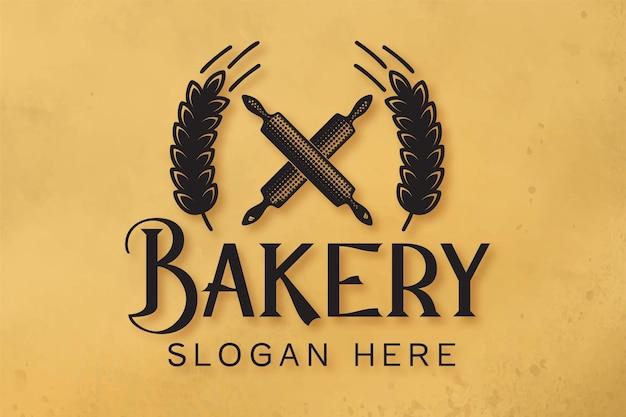 Insignia retro de panadería con rodillo cruzado y logotipo de grano de trigo