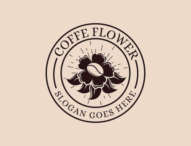 Insignia retro vintage emblema parche logotipo de flores y café