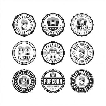 Insignia sello colección de diseño de palomitas de maíz