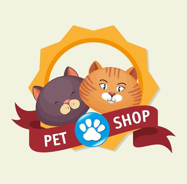 Insignia de la tienda de mascotas pie de impresión gatito