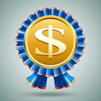 Insignia de vector con un signo de dólar grabado en un medallón de oro metálico en una roseta de cinta azul plisada sobre un fondo gris en un premio de premio monetario o concepto económico