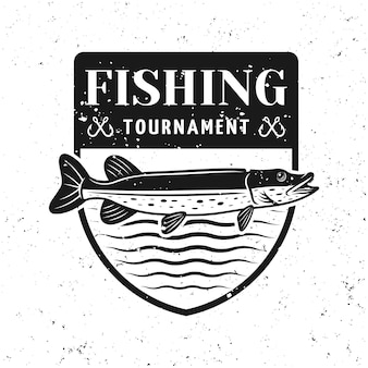 Insignia de vector de torneo de pesca con lucio aislado en blanco