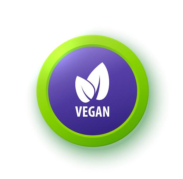 Insignia de vector vegano o etiqueta símbolo orgánico logotipo ecológico en el signo de vector de insignia