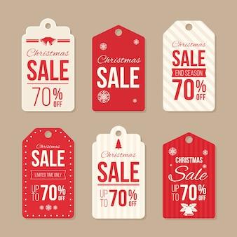 Insignia de venta de navidad y diseño plano de etiqueta