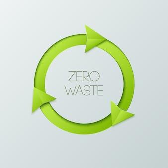 Insignia verde de cero desperdicios sobre un fondo blanco.