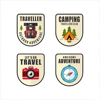 Insignia viajero aventura logos colección