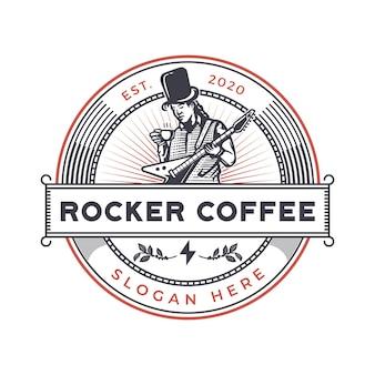 Insignia vintage de café rockero