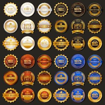 Insignia vintage dorada en oferta premium con cuatro colores alternativos