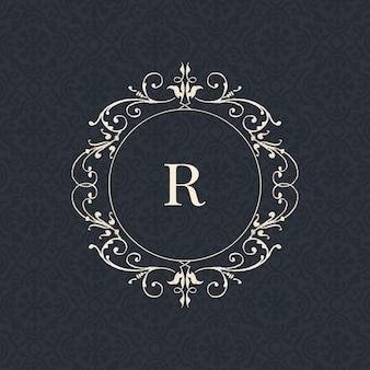 Insignia vintage de letra r en negro