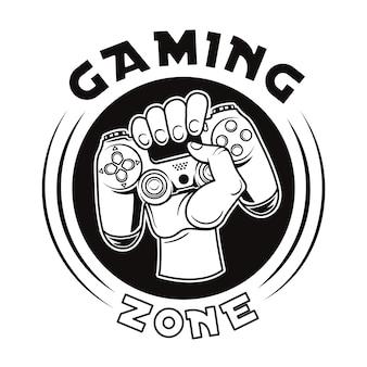 Insignia vintage de mano sosteniendo la ilustración de vector de joystick. etiqueta redonda con gamepad
