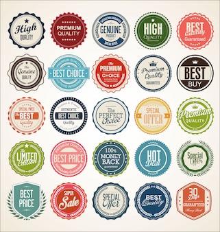 Insignia vintage retro y colección de etiquetas