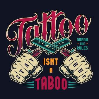 Insignia vintage de salón de tatuaje colorido
