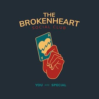 Insignia vintage con texto el vector de diseño de corazón roto