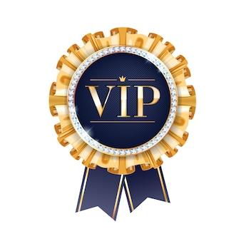 Insignia vip redonda con cintas y diamantes. etiqueta con flecos dorados y letras.