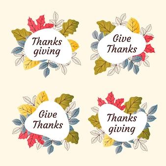Insignias de acción de gracias de estilo dibujado a mano