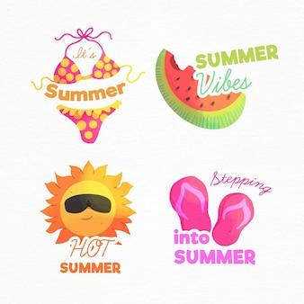 Insignias de acuarela de verano