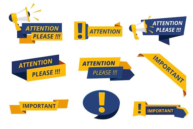 Insignias de atención. mensajes importantes aviso pancartas precaución anuncio conjunto