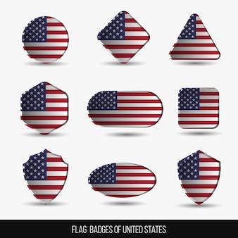 Insignias de la bandera de los estados unidos