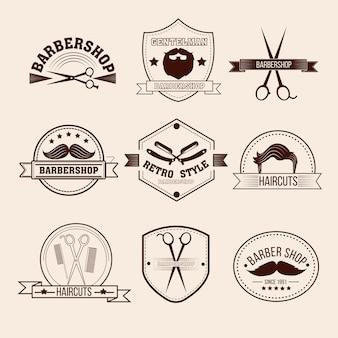 Insignias de barbería en estilo vintage