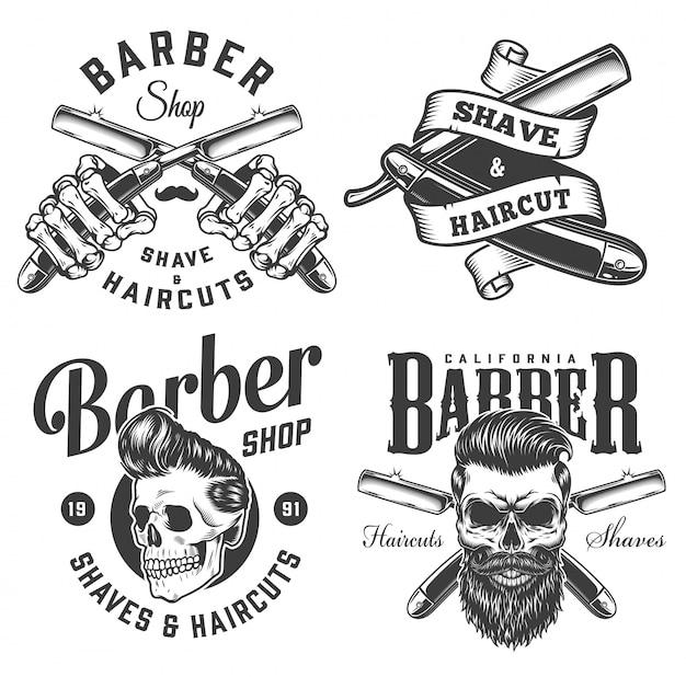 Insignias de barbería monocromáticas vintage