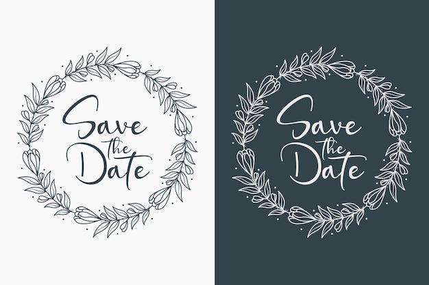 Insignias de boda decorativas y minimalistas dibujadas a mano con estilo círculo
