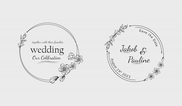 Insignias de boda florales dibujadas a mano mínimas