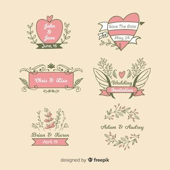 Insignias de boda florales dibujados a mano