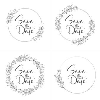 Insignias de boda florales mínimas dibujadas a mano con estilo círculo