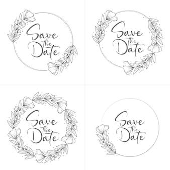Insignias de boda florales mínimas estilo círculo dibujado a mano