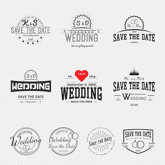 Insignias de boda tarjetas y etiquetas