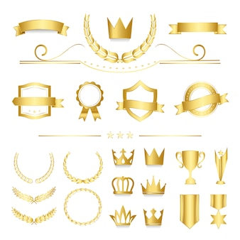 Insignias de calidad premium y vectores de colección de banners.