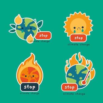 Insignias de cambio climático dibujadas a mano