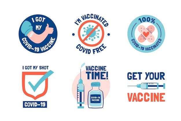 Insignias de campaña de vacunación dibujadas a mano.