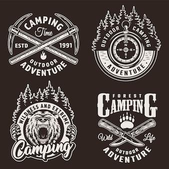 Insignias de camping monocromas