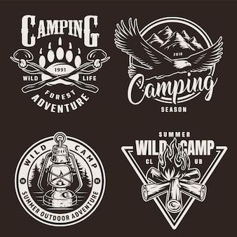 Insignias de camping monocromáticas vintage