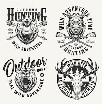 Insignias de caza monocromáticas vintage