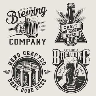 Insignias de cervecería monocromática vintage