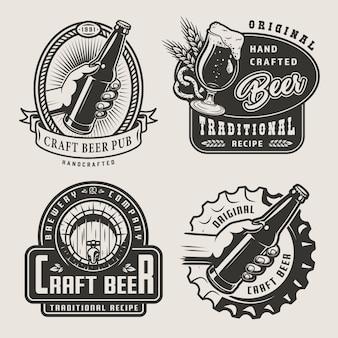 Insignias de cerveza artesanal vintage