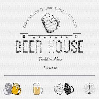 Insignias de cerveza logotipos y etiquetas.