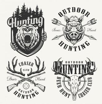 Insignias de club de caza monocromo vintage