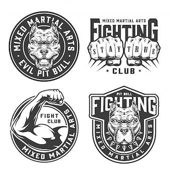 Insignias de club de lucha monocromo vintage